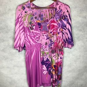 Unity World Wear Bold Floral Print Pleated Tunic